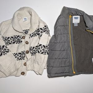 18-24 month Sweater Cardigan and Puffer Vest